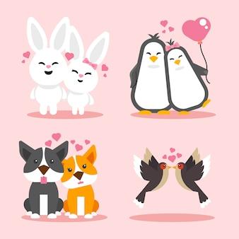 Coppia di animali di san valentino in design piatto