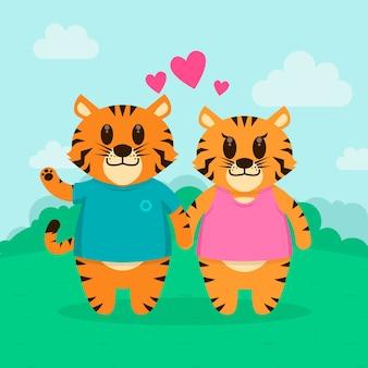 Coppia di animali san valentino carino