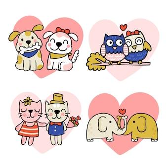 Coppia di animali san valentino disegnati a mano