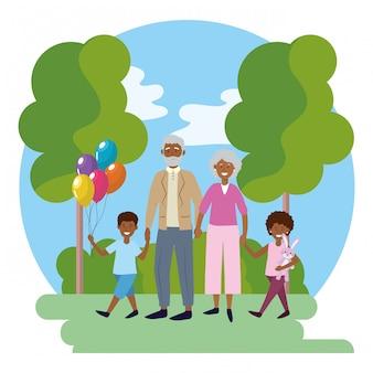 Coppia di anziani con bambini