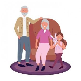 Coppia di anziani con bambino