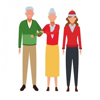 Coppia di anziani e donna