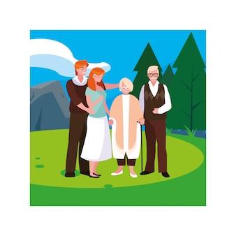 Coppia di anziani e loro figli adulti che si divertono insieme, due generazioni