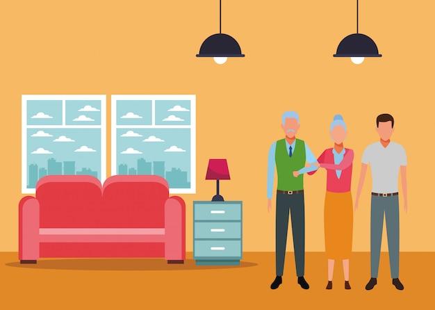 Coppia di anziani e uomo