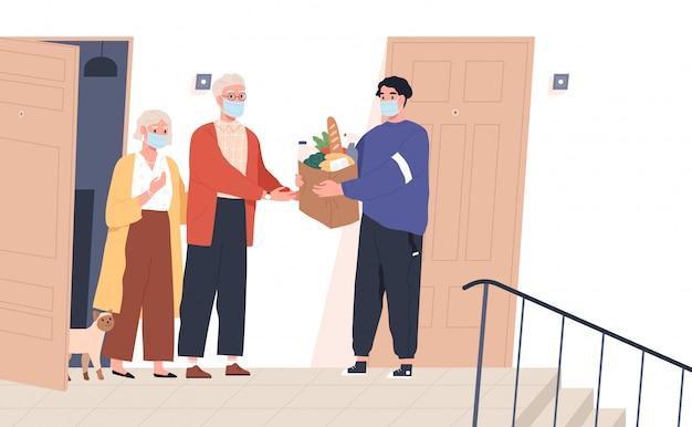 Coppia di anziani in maschere che ricevono un sacco di prodotti dal fattorino. prendersi cura volontariamente della famiglia senior durante l'epidemia di virus. illustrazione in stile cartone animato piatto