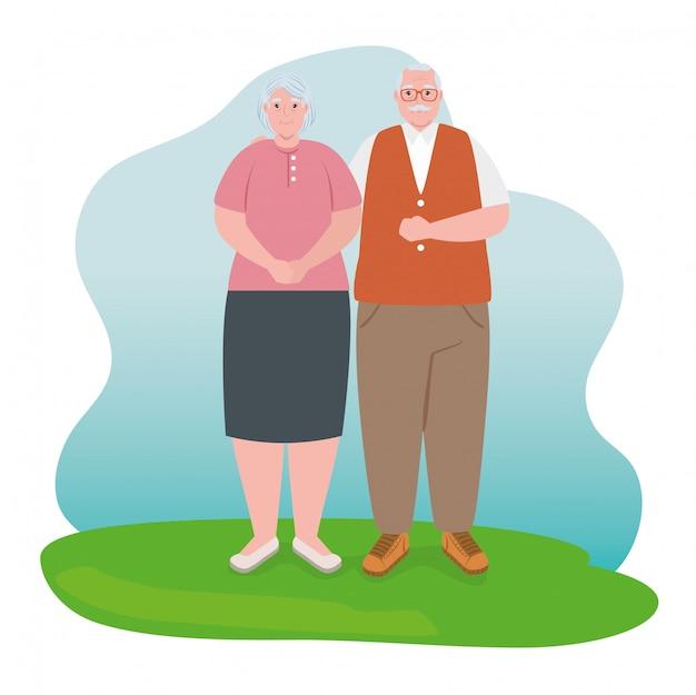 Coppia di anziani sorridente, vecchia e coppia di anziani in amore