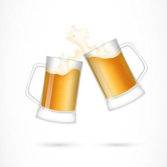 Coppia di bicchieri di birra illustrazione
