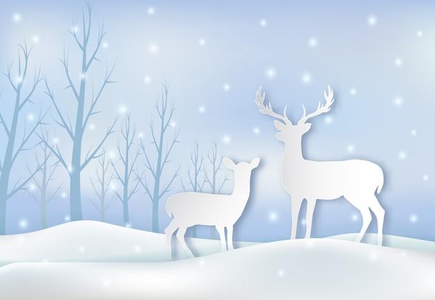 Coppia di cervi e illustrazione di neve