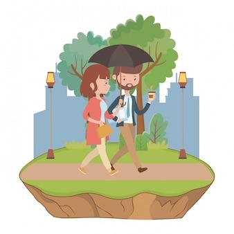 Coppia di disegno del fumetto uomo e donna