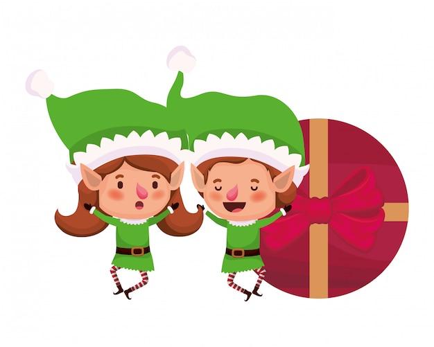 Coppia di elfi con confezione regalo personaggio avatar