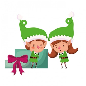 Coppia di elfi con personaggio avatar scatole regalo