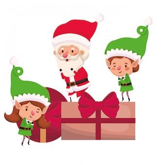 Coppia di elfi e babbo natale con scatole regalo