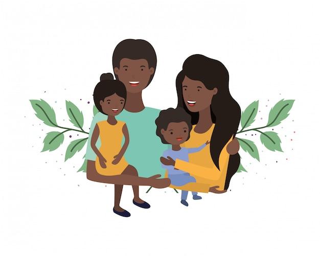 Coppia di genitori con bambini avatar personaggio