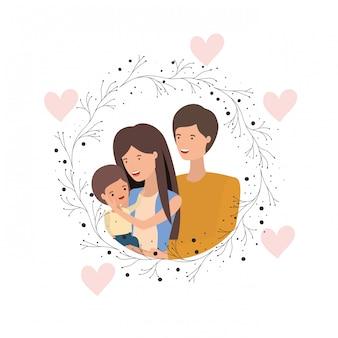 Coppia di genitori con carattere avatar figlio