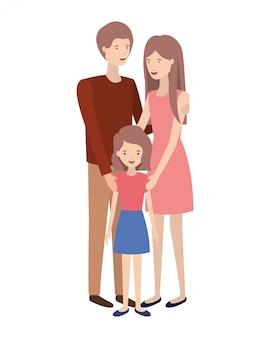 Coppia di genitori con carattere di figlia avatar