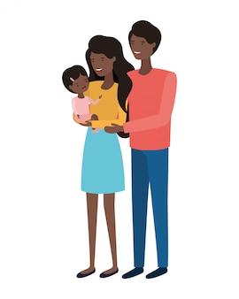 Coppia di genitori con figlia avatar charactar