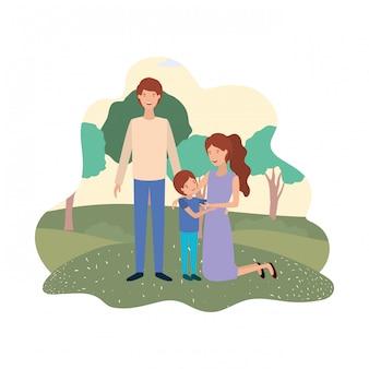 Coppia di genitori con figlio in avatar di paesaggio