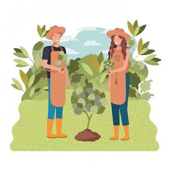 Coppia di giardinieri con carattere avatar paesaggio