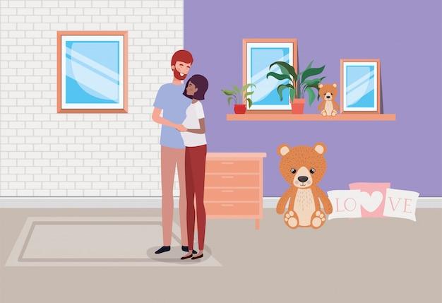 Coppia di gravidanza in casa con cassetto