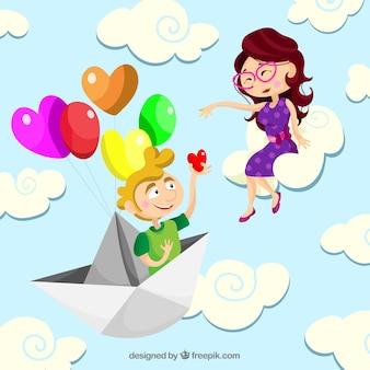 Coppia di innamorati nel cielo con design piatto