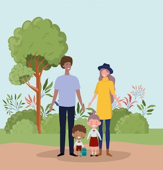 Coppia di insegnanti con bambini piccoli studenti nel paesaggio