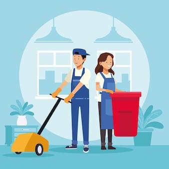Coppia di lavoratori delle pulizie con bidone dei rifiuti e lucentezza del pavimento