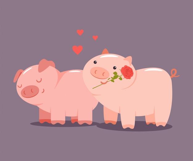Coppia di maiali con una rosa e cuori. carattere animale sveglio del fumetto di vettore di valentine day isolato