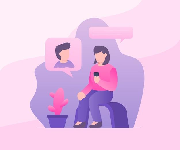 Coppia di messaggi di testo online uomo e donna con moderno