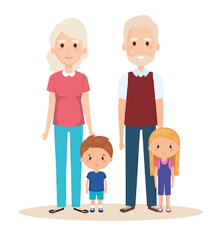 Coppia di nonni carino con i nipoti