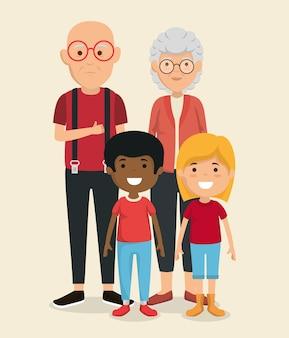 Coppia di nonni con personaggi avatar bambini