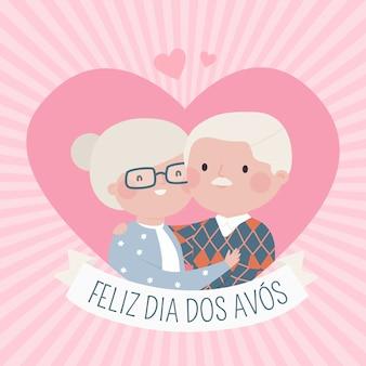 Coppia di nonni felici disegnati a mano