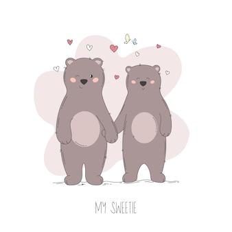 Coppia di orsi d'amore disegnati a mano con cuoricini rossi.