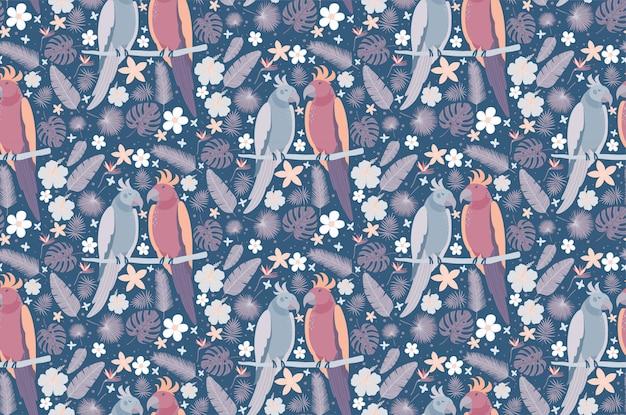 Coppia di pappagalli bella circondata da fiori.
