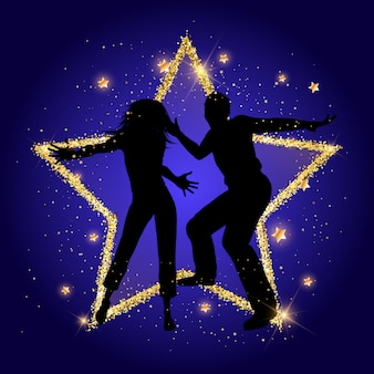 Coppia di partito su uno sfondo di stella d'oro scintillante