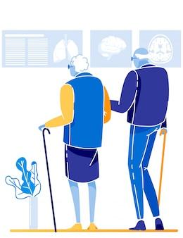 Coppia di pensionati servizio medico e assistenza sanitaria