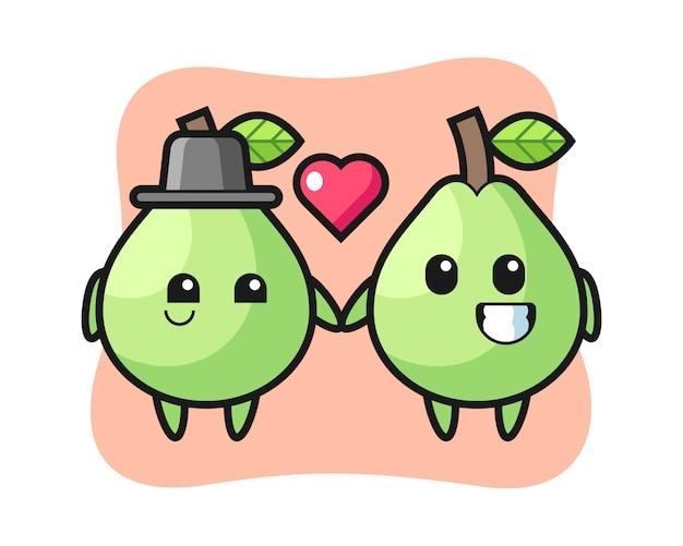 Coppia di personaggi dei cartoni animati di guava con innamoramento gesto, stile carino per t-shirt, adesivo, elemento logo