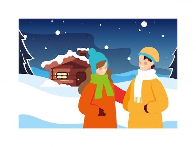 Coppia di persone con paesaggio invernale e casa di famiglia
