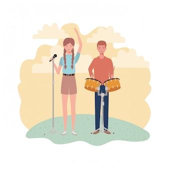 Coppia di persone con strumenti musicali e paesaggio