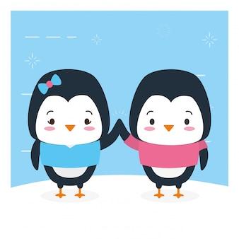 Coppia di pinguini, simpatici animali, cartoni animati e stile piano, illustrazione