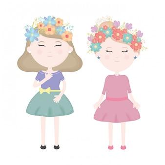 Coppia di ragazze carine con corona floreale nei personaggi dei capelli