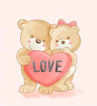 Coppia di simpatici orsi con cuore amore illustrazione