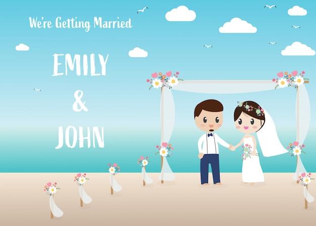 Coppia di sposi hipster sulla carta di invito spiaggia