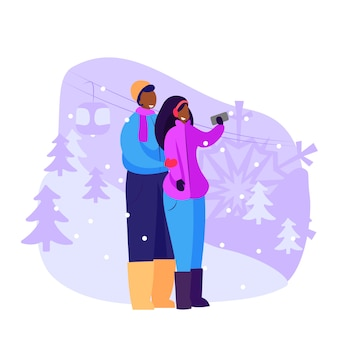 Coppia di turisti che prendono selfie all'aperto