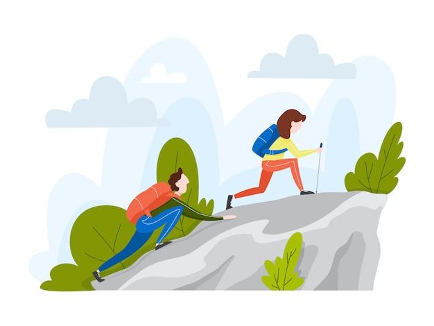 Coppia di turisti con lo zaino che scalano la montagna