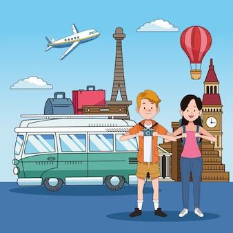 Coppia di turisti con luoghi famosi e furgone