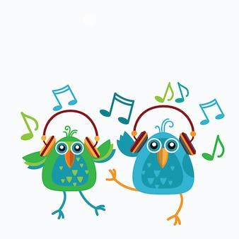 Coppia di uccelli ascolta musica indossa cuffie da ballo note