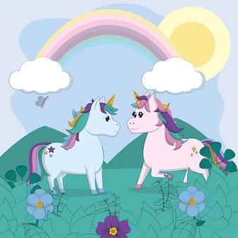 Coppia di unicorni carino nel paesaggio