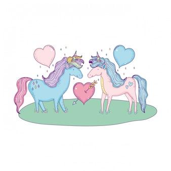 Coppia di unicorni nei personaggi del paesaggio