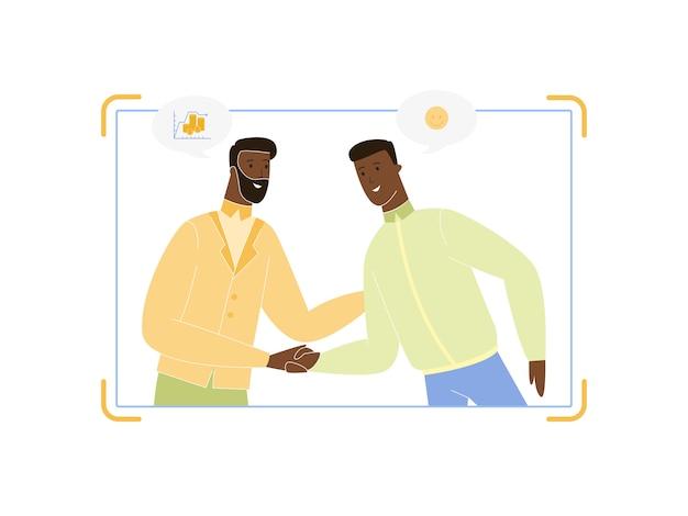 Coppia di uomini d'affari giovani e adulti che agitano le mani