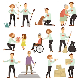 Coppia di volontari che si prendono cura degli anziani e dell'ecologia